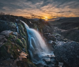 Beautiful natural waterfall landscape Stock Photo
