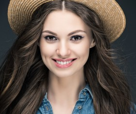 Beautiful woman wearing cowboy suit wearing straw hat Stock Photo 06
