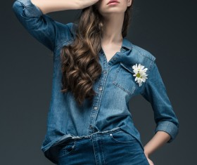 Beautiful woman wearing denim suit Stock Photo 03