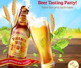Beer testing party poster vector 02