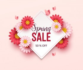 Beige spring sale background with flower vector 01