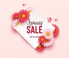 Beige spring sale background with flower vector 02