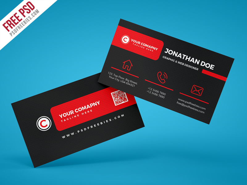 Black Company Business Card PSD Template