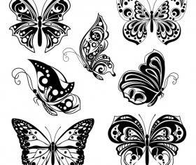 Black decor butterflies vector