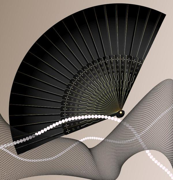 Black folding fan with abstract background vector