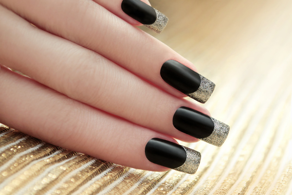 Black Nail Polish Art Stock Photo 02