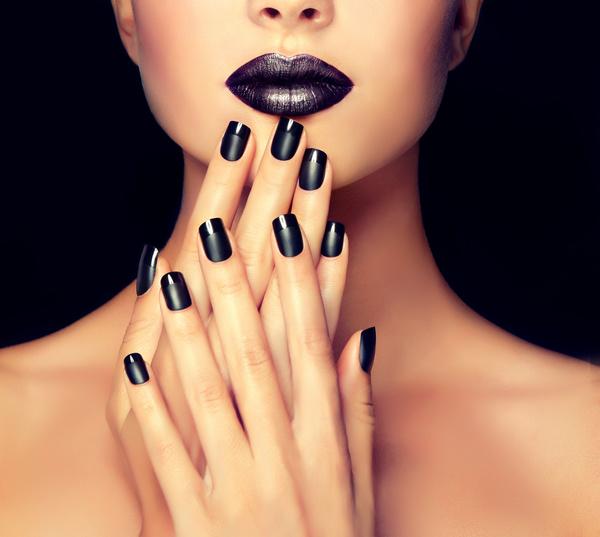 Nail Art Trend Luxury Nail Polish Nail Stickers Stock: Black Nail Polish Nail Art Stock Photo 04
