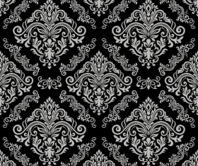 Black vintage floral seamless pattern element vector