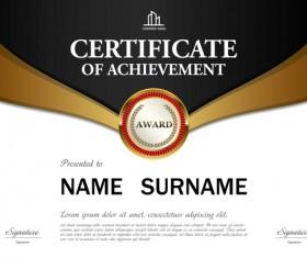 Black with golden certificate template vectors 01