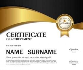 Black with golden certificate template vectors 02