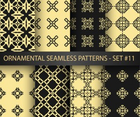 Black with golden ornament seamless pattern vector 02