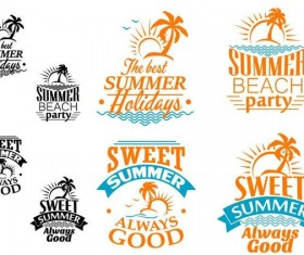 Black with orange summer labels vector