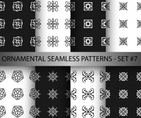 Black with white ornament seamless pattern vector 01