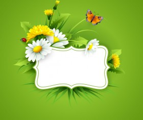 Blank label with spring flower and green background vector 05