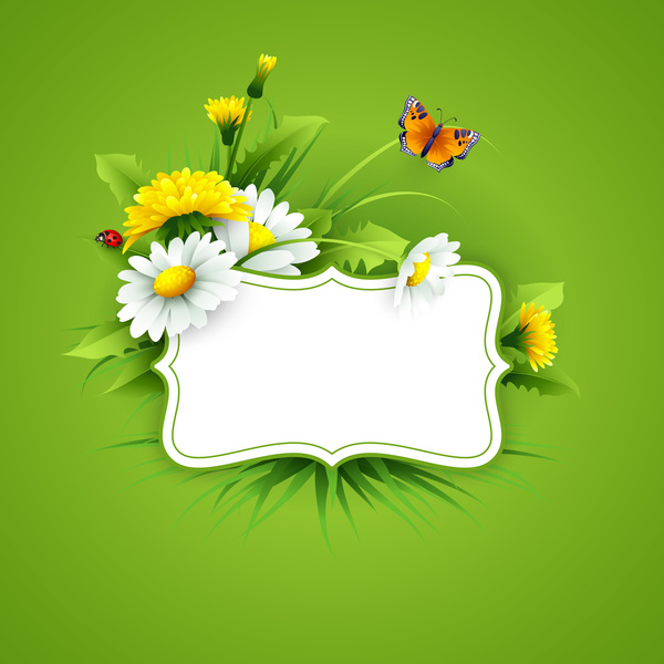 Spring Flower With Green Background Vector 02 Free Download: Blank Label With Spring Flower And Green Background Vector