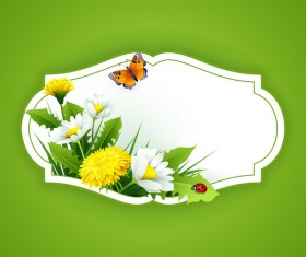 Blank label with spring flower and green background vector 06