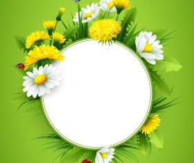 Blank label with spring flower and green background vector 08