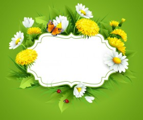 Blank label with spring flower and green background vector 09