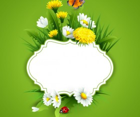 Blank label with spring flower and green background vector 10