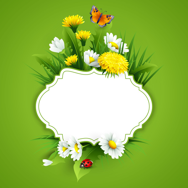 Blank Label With Spring Flower And Green Background Vector