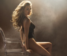 Blonde curls Beautiful woman Stock Photo 02