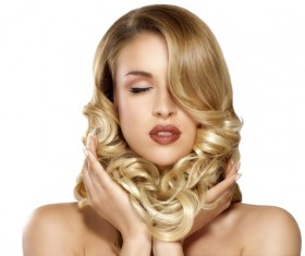 Blonde curls Beautiful woman Stock Photo 04