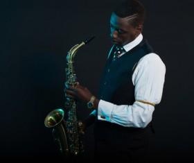 Blowing saxophone man Stock Photo 01