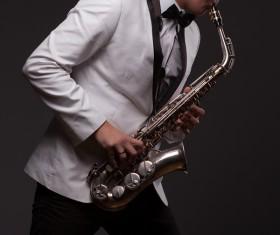 Blowing saxophone man Stock Photo 02