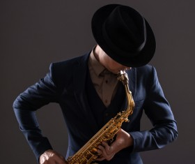 Blowing saxophone man Stock Photo 03