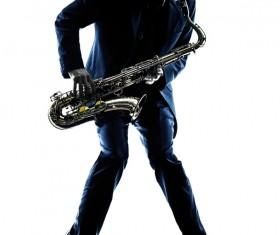 Blowing saxophone man Stock Photo 04