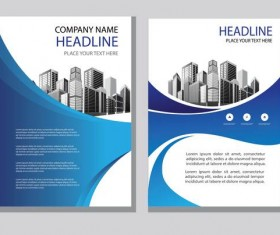 Blue abstract magazine with brochure cover 01