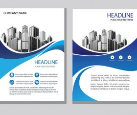 Blue abstract magazine with brochure cover 02