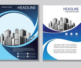 Blue abstract magazine with brochure cover 03