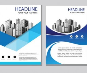 Blue abstract magazine with brochure cover 05