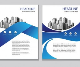 Blue abstract magazine with brochure cover 06