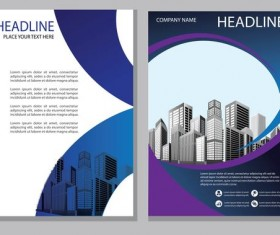 Blue abstract magazine with brochure cover 11
