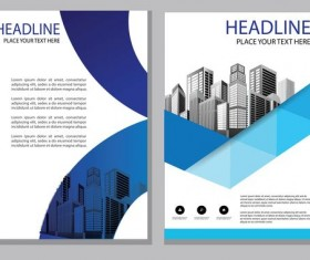 Blue abstract magazine with brochure cover 14