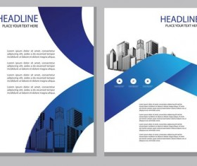 Blue abstract magazine with brochure cover 15