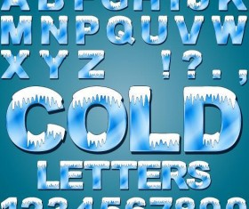 Blue alphaber with number and snow vector