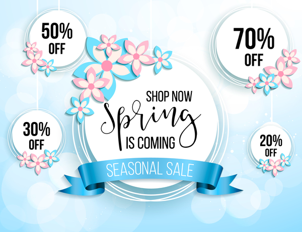 Blue discount label with spring background vector