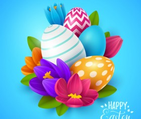 Blue easter background with egg and flower vectors 01