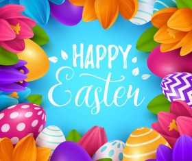 Blue easter background with egg and flower vectors 02