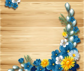 Blue flower corner decor with wooden background vector