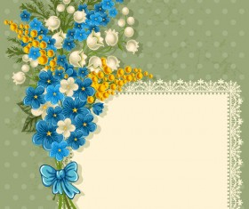 Blue flower lace frame vector