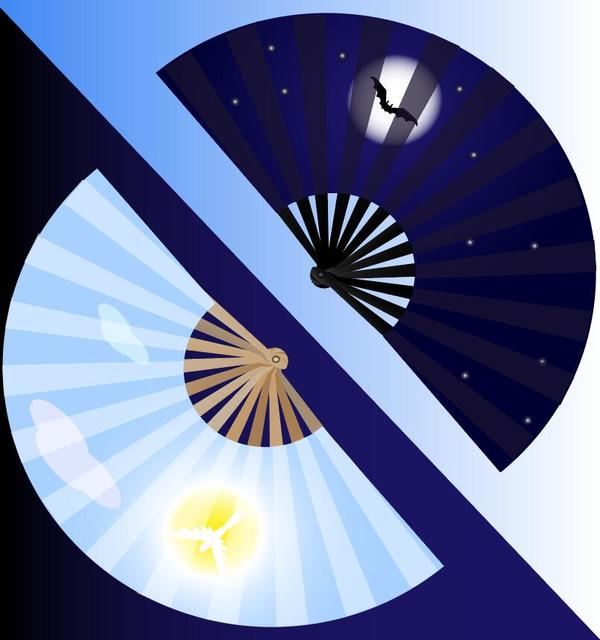 Blue folding fan vector material