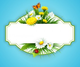 Blue spring background with flower label vector 01