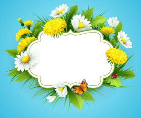 Blue spring background with flower label vector 02