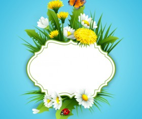 Blue spring background with flower label vector 03