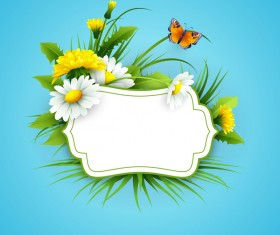 Blue spring background with flower label vector 04