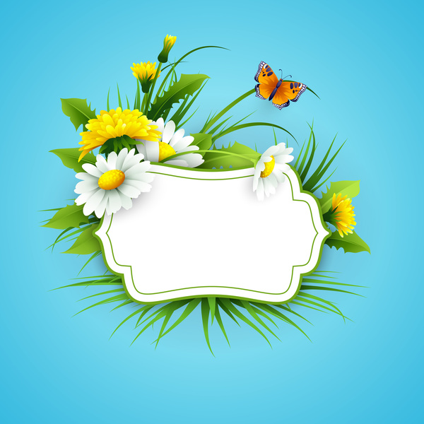 Spring Flower With Green Background Vector 02 Free Download: Blue Spring Background With Flower Label Vector 04 Free